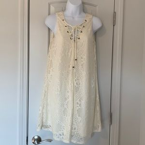 Altar'd State cream lace overlay shift dress